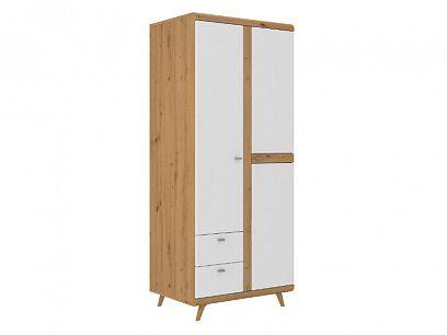 BONANZA šatní skříň 2D2S, dub artisan/bílá lesk
