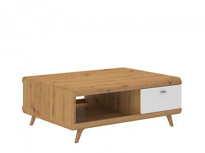 BONANZA konferenční stolek, dub artisan/bílá lesk