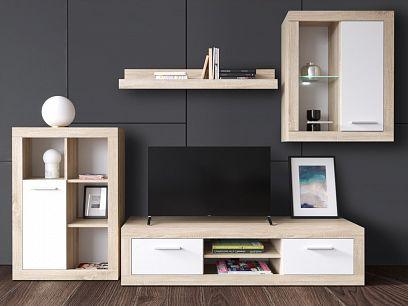 SAMOS obývací stěna, dub sonoma/bílá