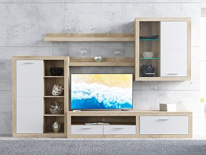 SALERNO obývací stěna, dub sonoma/bílá