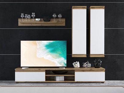 LOUSIANA 1 obývací stěna, dub taxo/bílá