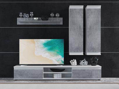 LOUSIANA 1 obývací stěna, beton/bílá