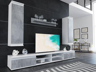 LOUSIANA 2 obývací stěna, beton/bílá