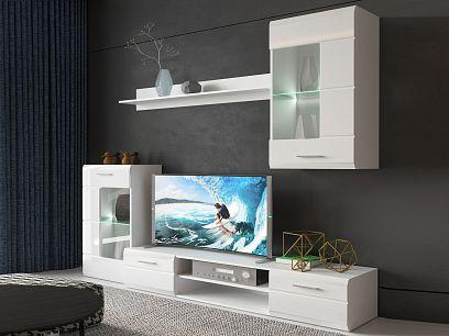 PAROS obývací stěna, bílá/bílý lesk