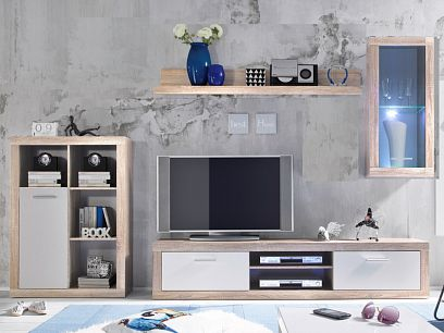 ATTIKA obývací stěna, dub sonoma/bílá
