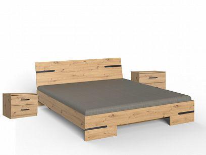 ANABEL 293, 698 postel + 2 noční stolky, dub artisan/grafit