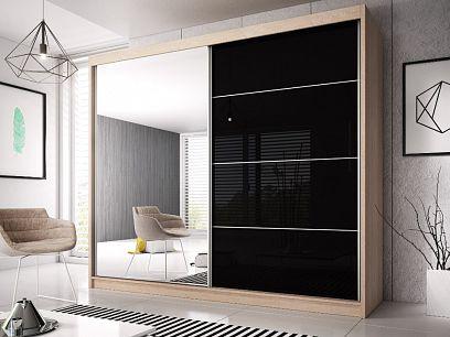 MURPHY 31 šatní skříň 200, dub sonoma/černý pololesk/zrcadlo