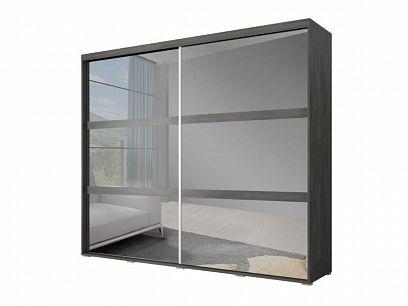LOCARNO šatní skříň 230, borovice černá/zrcadlo