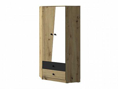 PARADISE 02 rohová šatní skříň, dub artisan/bílá mat/šuplík černý mat