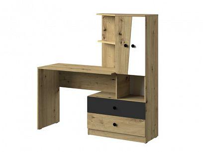 PARADISE 11 psací stůl, dub artisan/bílá mat/šuplík černý mat