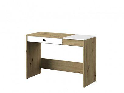 PARADISE 10 psací stůl, dub artisan/šuplík bílá mat/černá úchyt