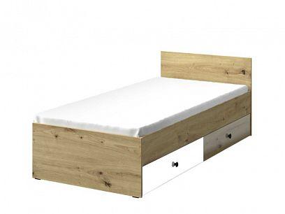 PARADISE 14 postel, dub artisan/bílá mat/černá úchyt