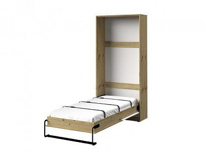 PARADISE 15 výklopná postel, dub artisan/bílá mat/černá úchyt