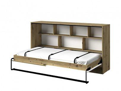 PARADISE 16 výklopná postel, dub artisan/bílá mat/černá úchyt