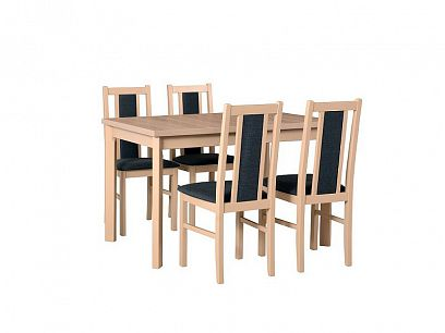 MILÉNIUM 1 Jídelní set, stůl + 4 židle, dub sonoma