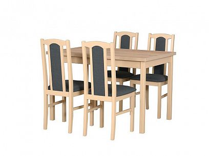 MILÉNIUM 4  Jídelní set stůl + 4 židle, dub sonoma